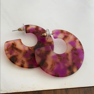 Purple abstract statement earrings